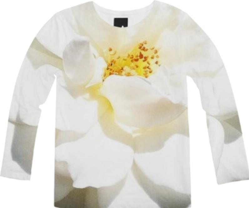 White Flower Long Sleeve Tee