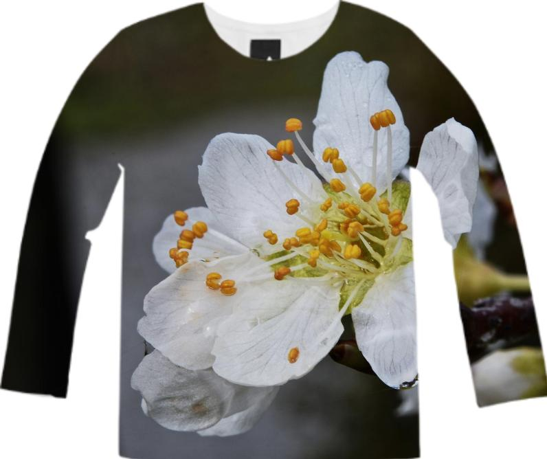 white plum flower long sleeve shirt