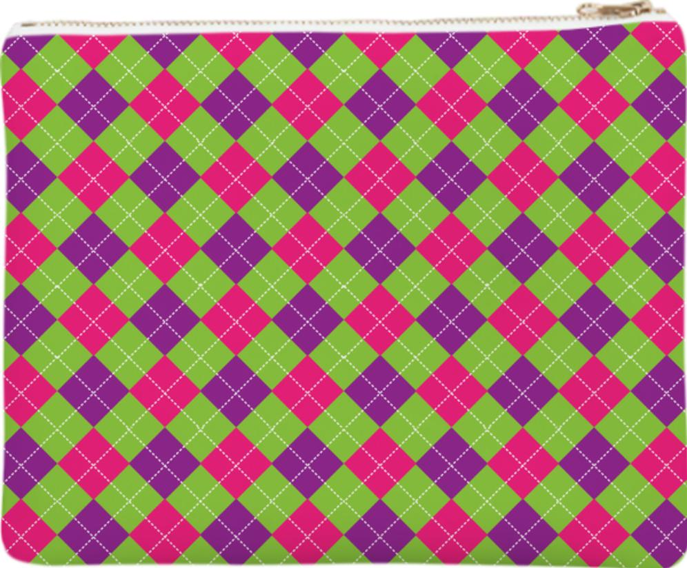 PINK PURPLE GREEN ARGYLE PATTERN