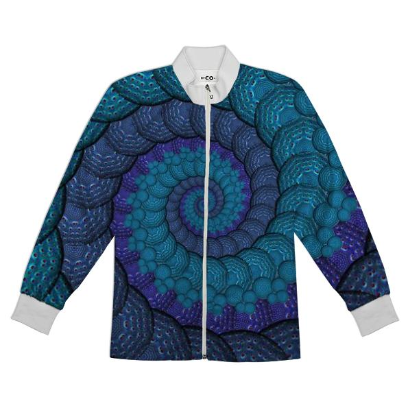 Blue Fractal Spiral Tracksuit Jacket Top