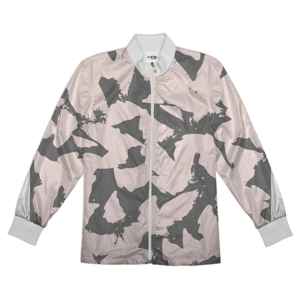 Pastel Pink Bird Wings on Gray Tracksuit Jacket