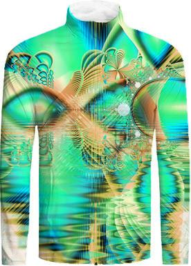Golden Teal Peacock Abstract Fractal Copper Crystal