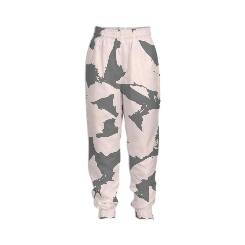 Pastel Pink Bird Wings on Gray Tracksuit Pant