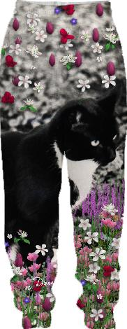 Freckles in Flowers II Black and White Tuxedo Kitty Cat