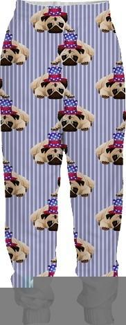 Patriotic Pugs on Blue Pin Stripes