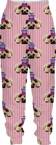 Patriotic Pugs on Red Stripes