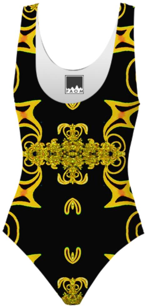 Black and Gold Pattern Swimsuit 2
