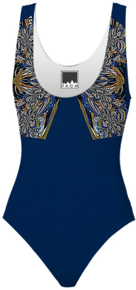 Blue Gold Brocade Swimsuit
