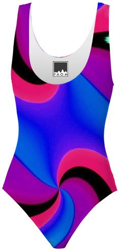 Blue Purple Red Black Double Swirl Swimsuit