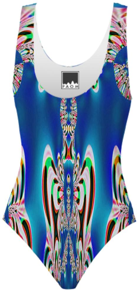 Bright Blue Abstract Swimsuit