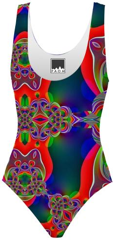 Green Red Fractal Swimsuit