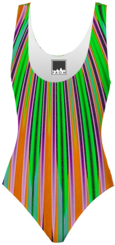 Orange Green Stripe Swimsuit