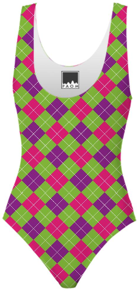 Pink Purple Green Large Argyle Pattern Swimsuit