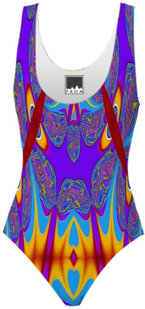 Purple Flame Abstract Swimsuit 2