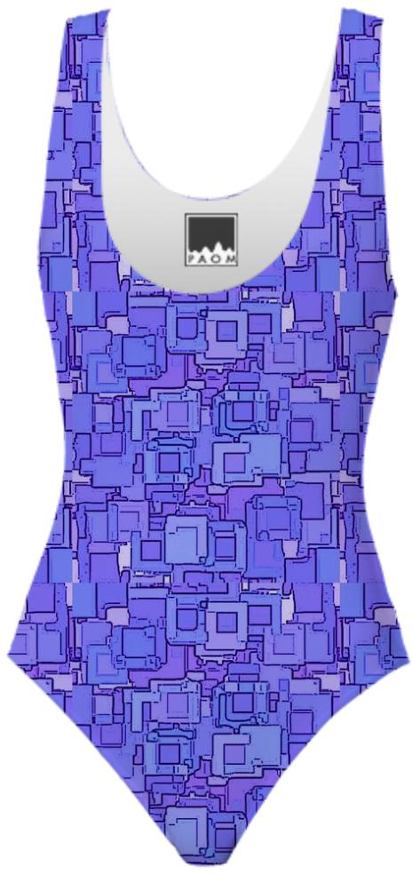 Purple Pixelized Swimsuit