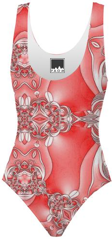 Red and White Abstract Swimsuit