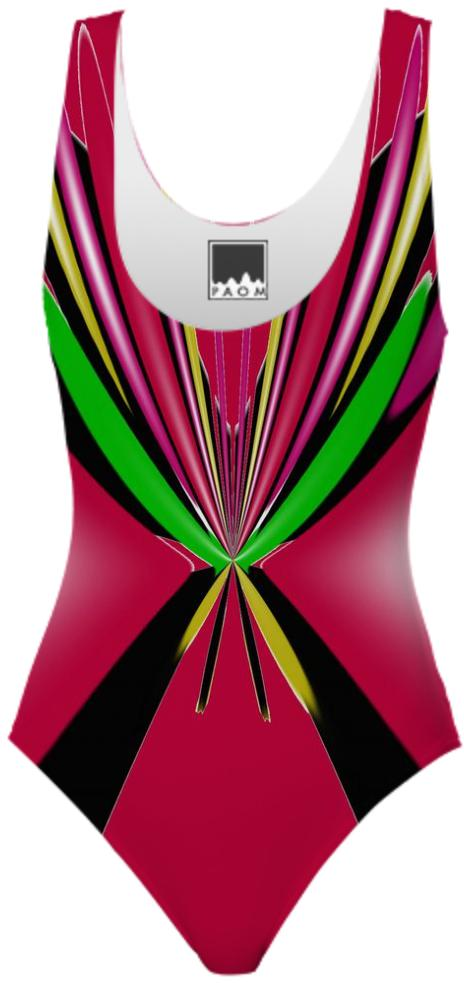 Red Green Black Abstract Design Swimsuit