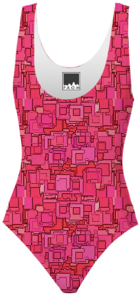 Red Pixelized Swimsuit