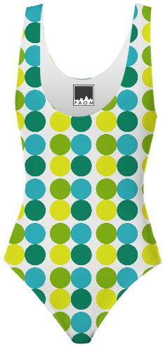 Swimsuit Dots green blue yellow polka dot