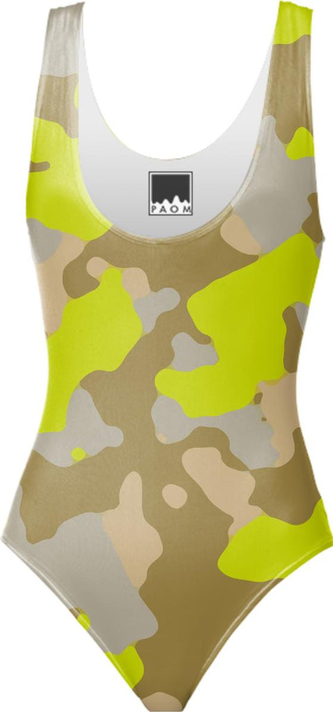 YELLOW CAMOUFLAGE SWIMSUIT