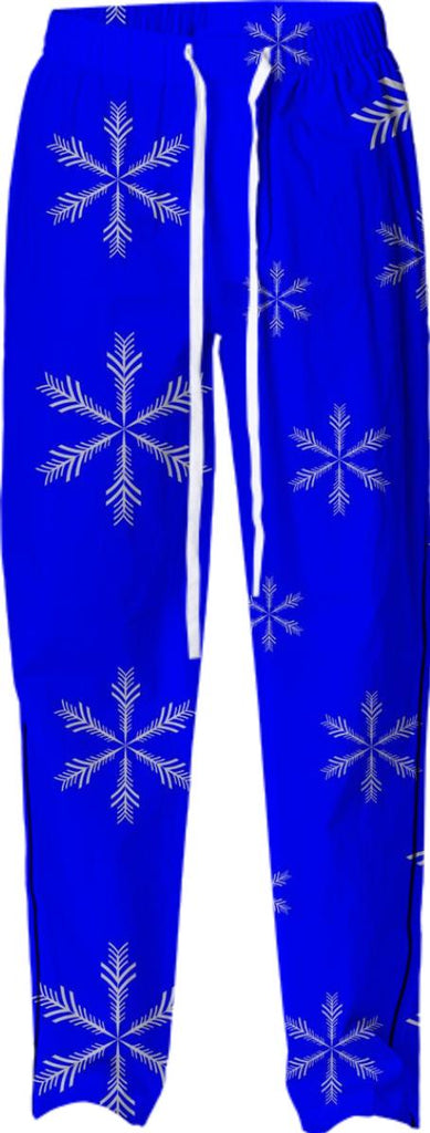 Blue Snowflakes Pajama Bottoms