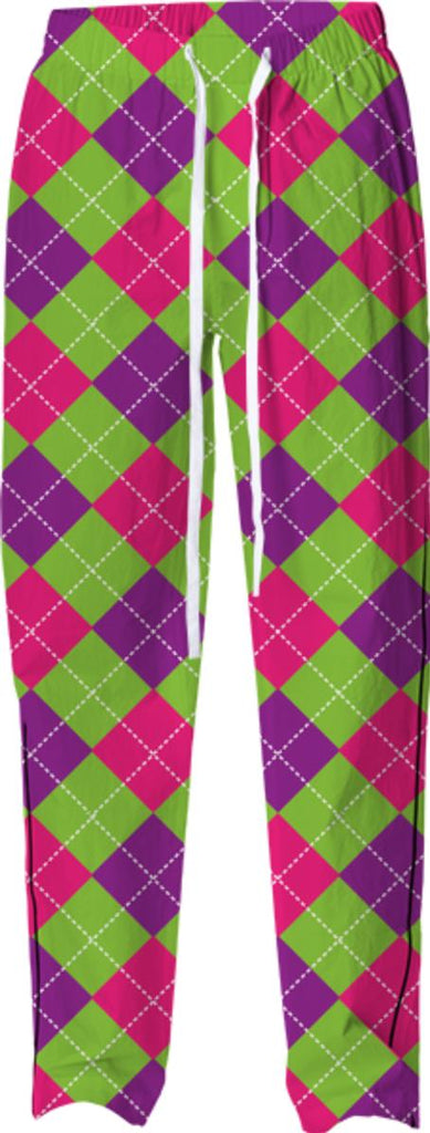 PINK PURPLE GREEN ARGYLE PATTERN PAJAMA PANT