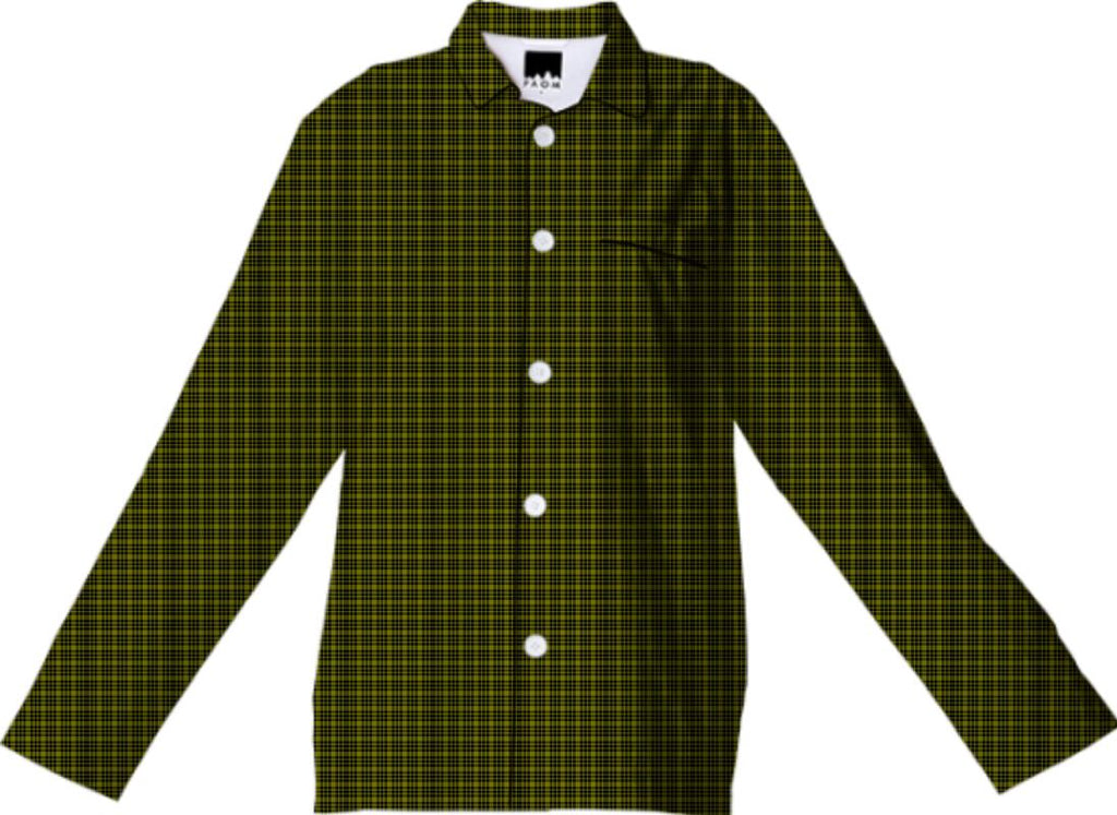 Black and Green Plaid Pajama Top
