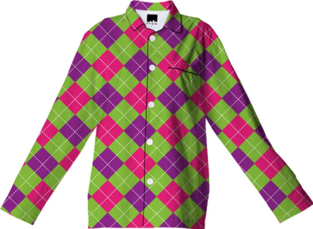 PINK PURPLE GREEN ARGYLE PATTERN PAJAMA TOP