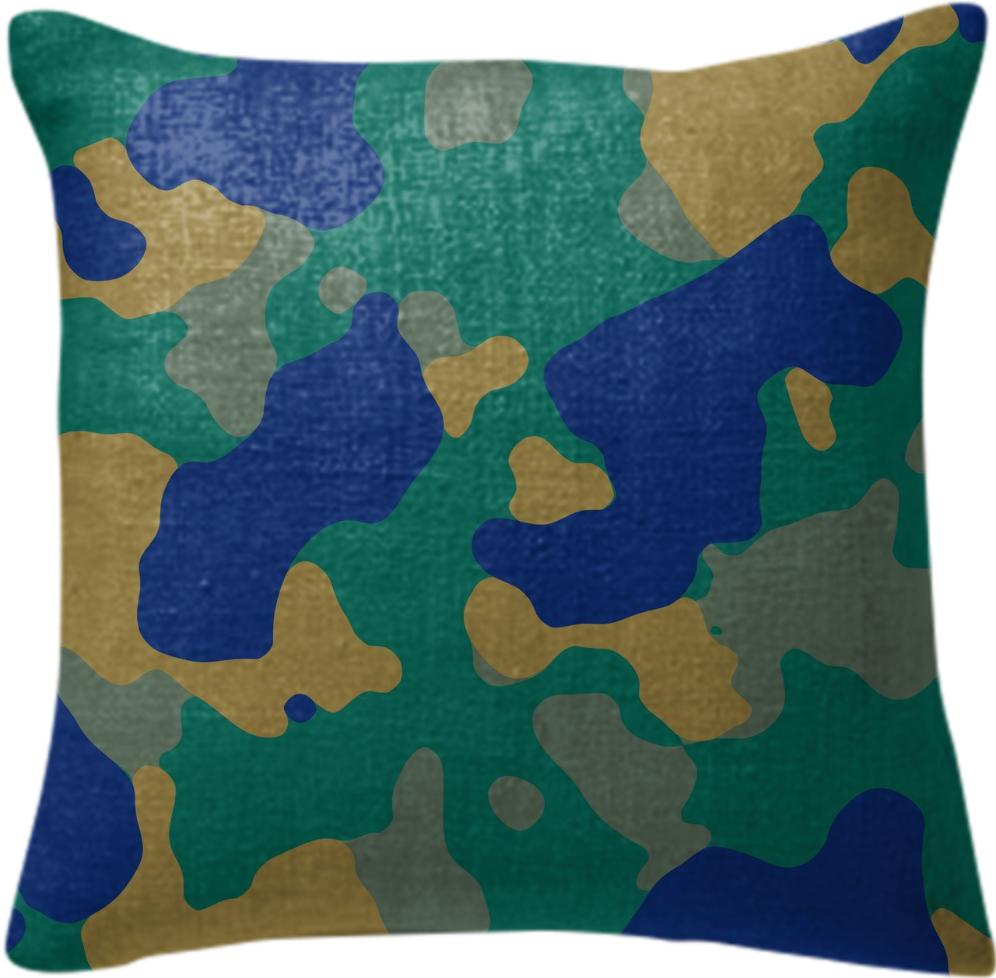 BLUE CAMOUFLAGE PILLOW