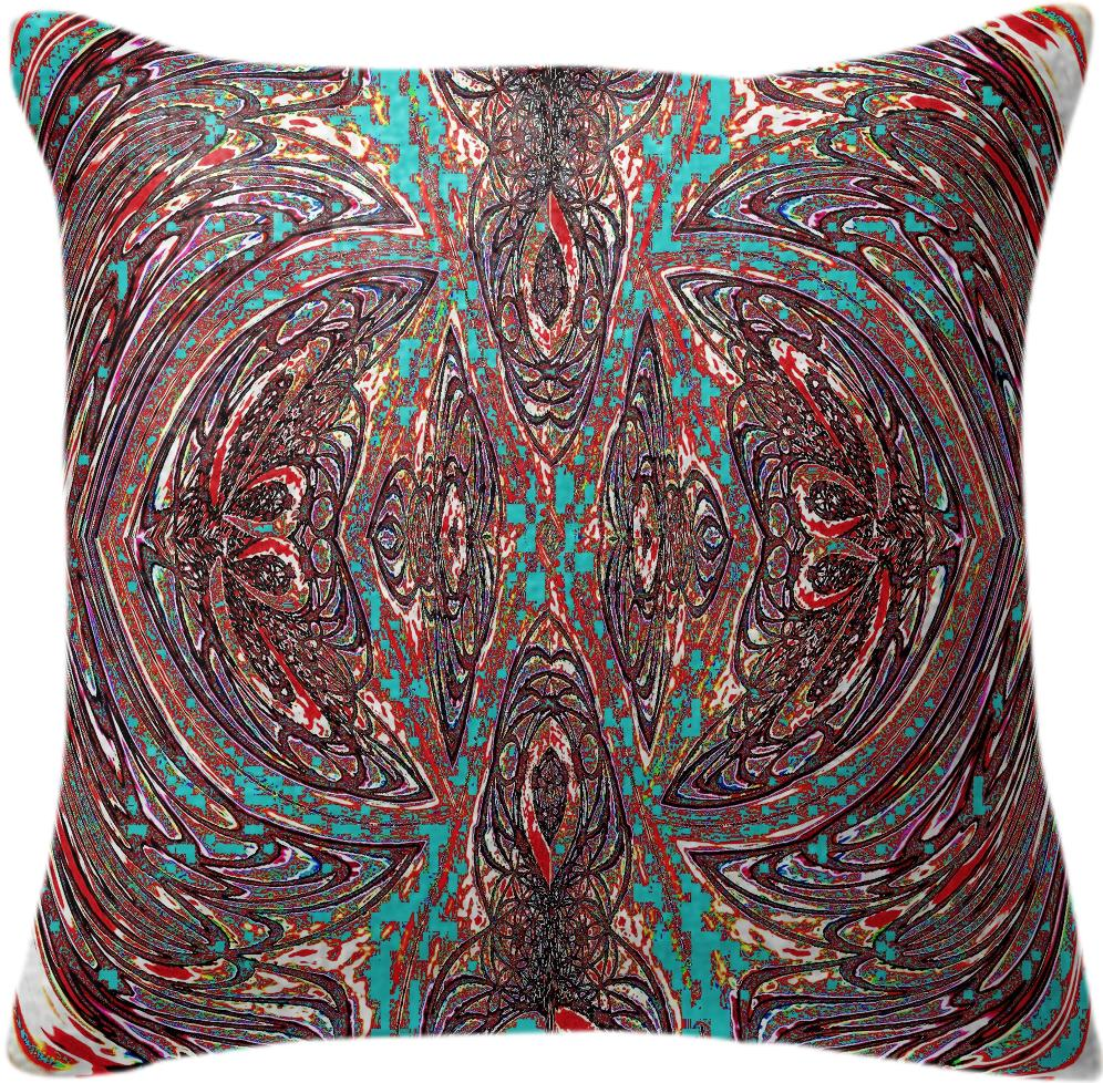 Brown Turquoise Fractal Pillow