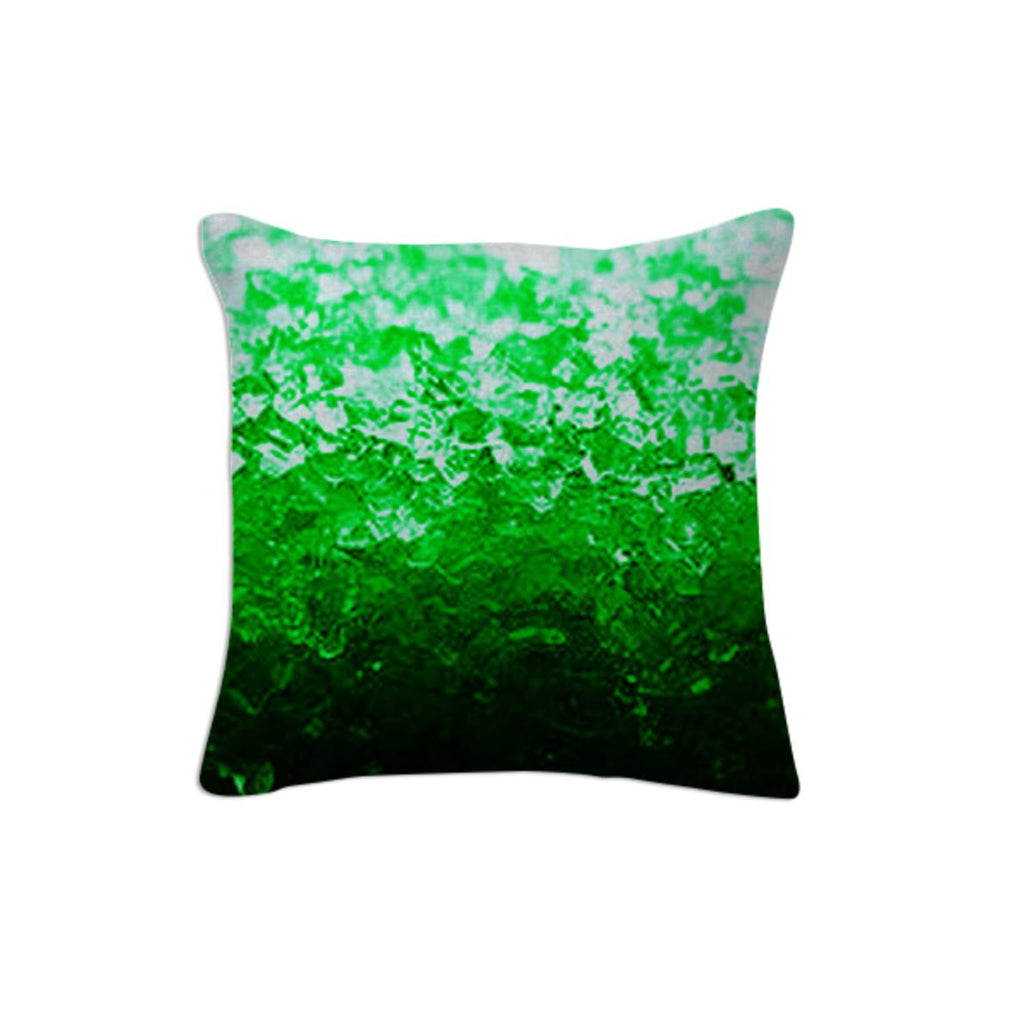 Green Ombre Crystal Throw Pillow