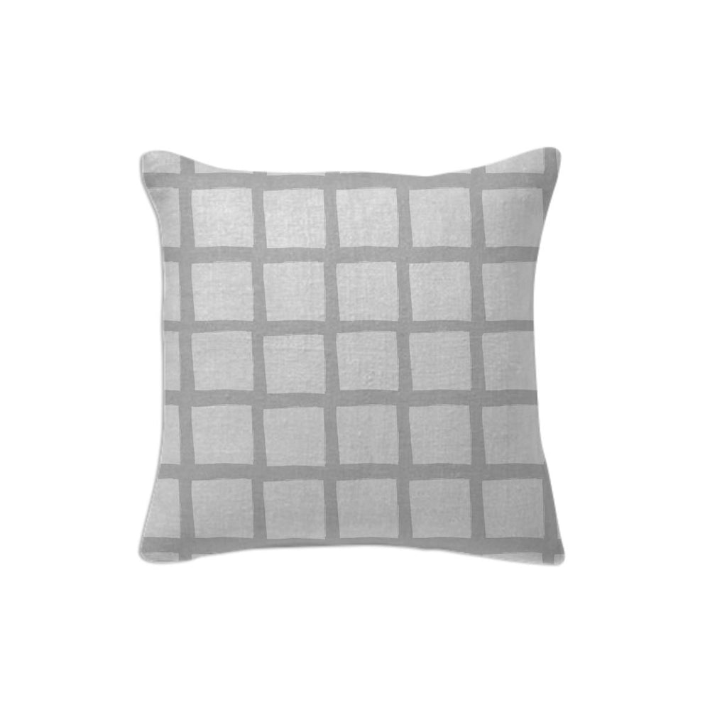 Grey and White Grid Pillow