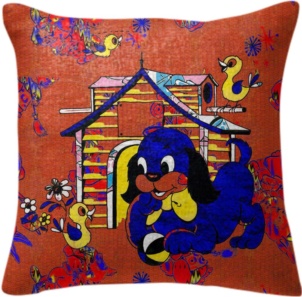 Happy in the Doghouse cotton pillow