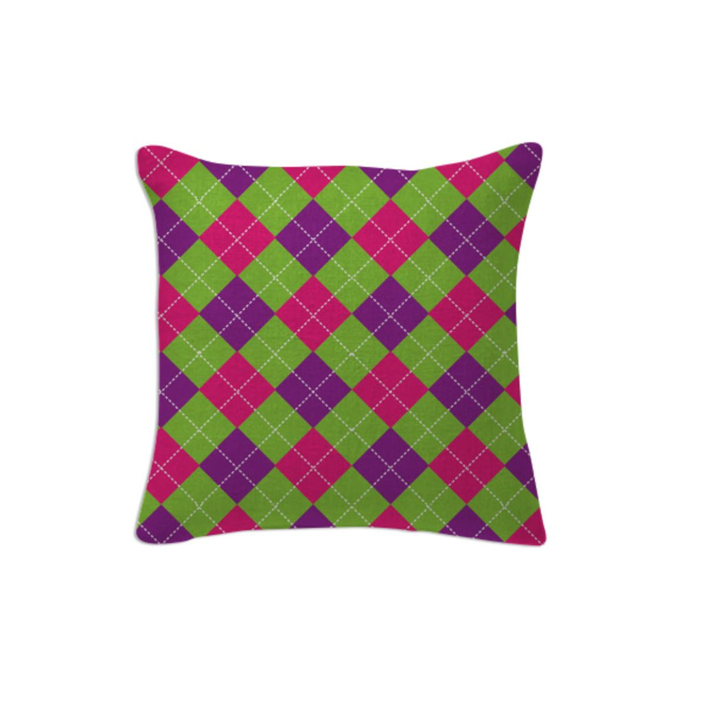PINK PURPLE GREEN ARGYLE PATTERN PILLOW
