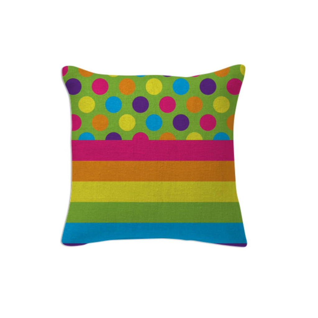 RAINBOW POLKA DOTS STRIPED PILLOW