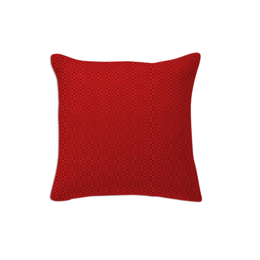 Red Red Circle Fractal Pillow