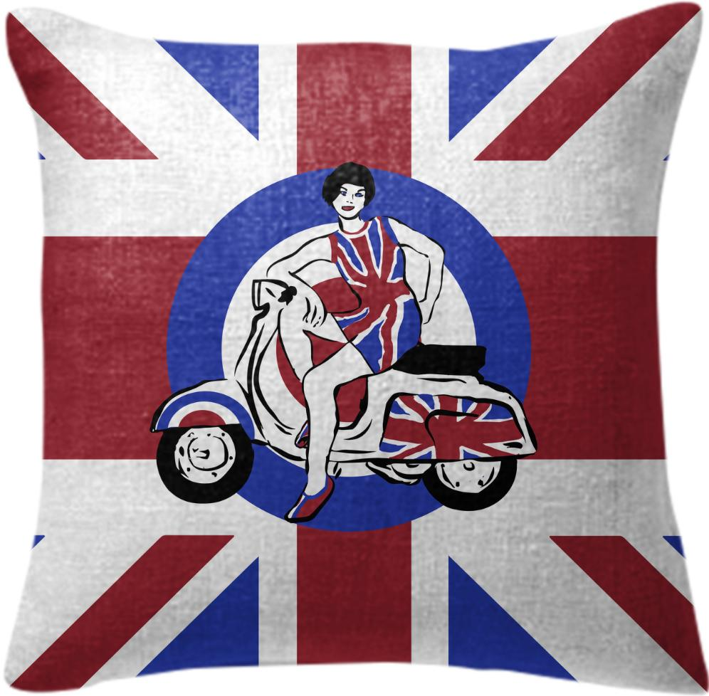 Retro Mod Scooter Girl Cushion