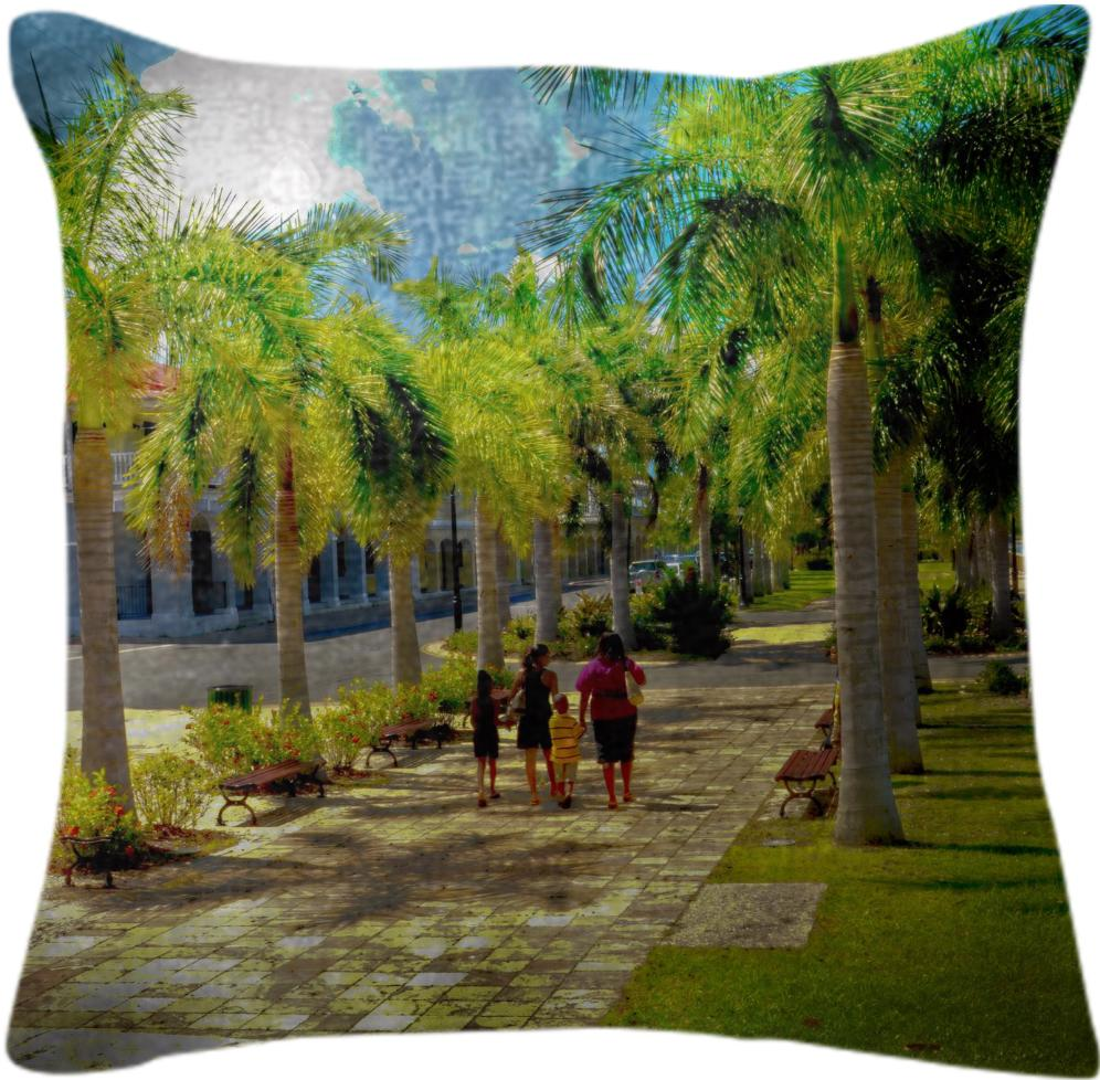 Stroll Among The Palm Trees Pillow