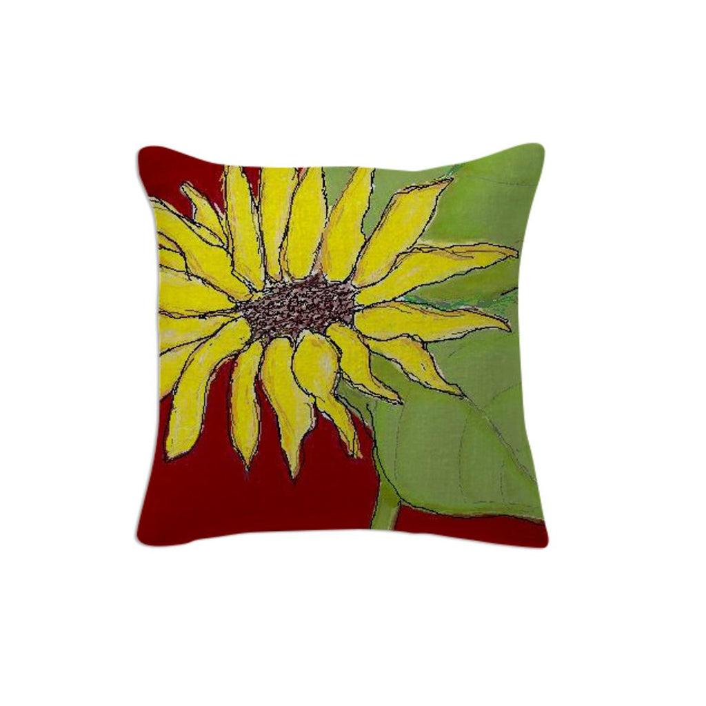 Sunflower on Red Pillow