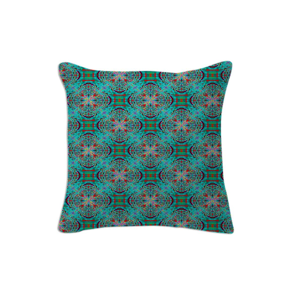 Teal Red Fractal Pillow