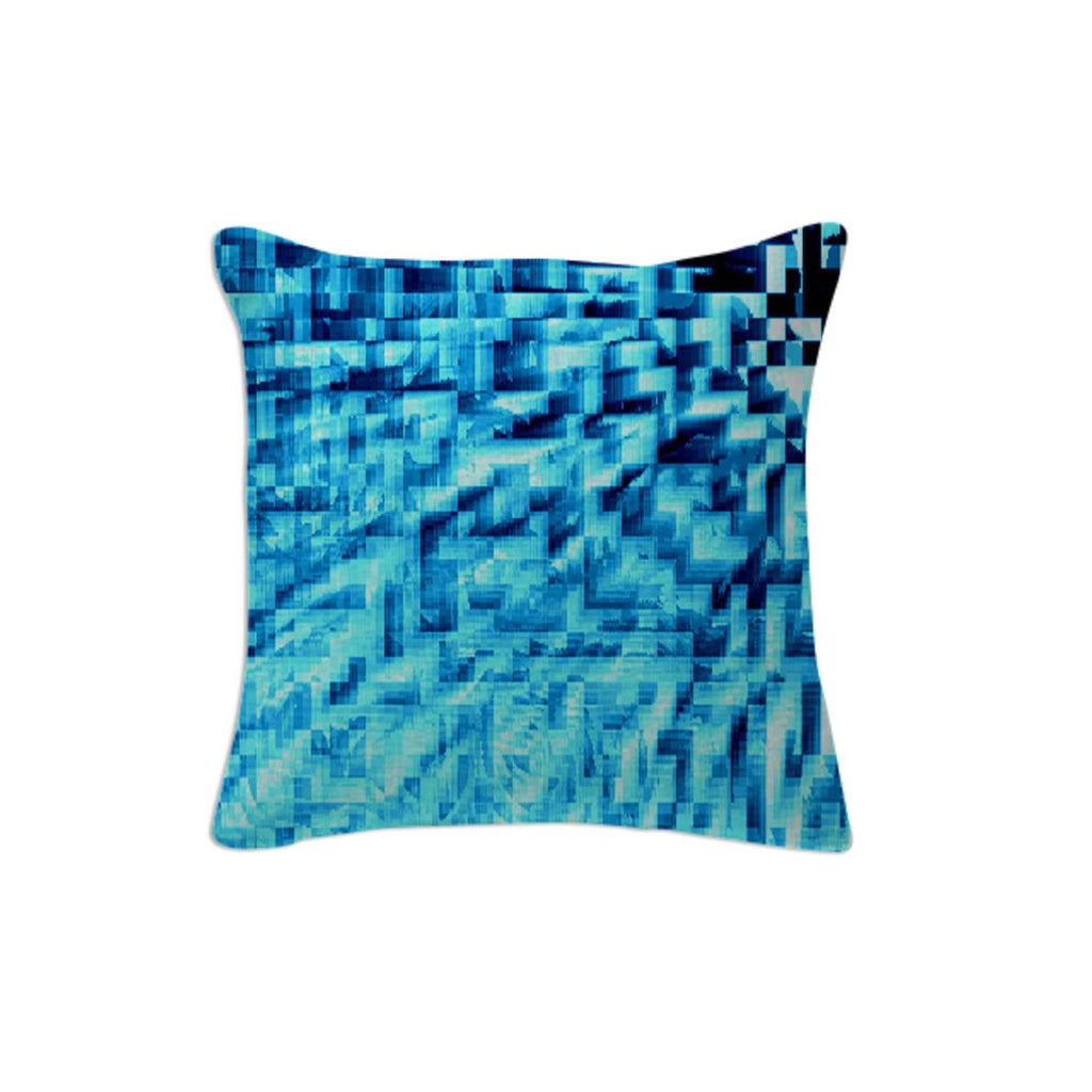 Turquoise Windy Pixels Pillow
