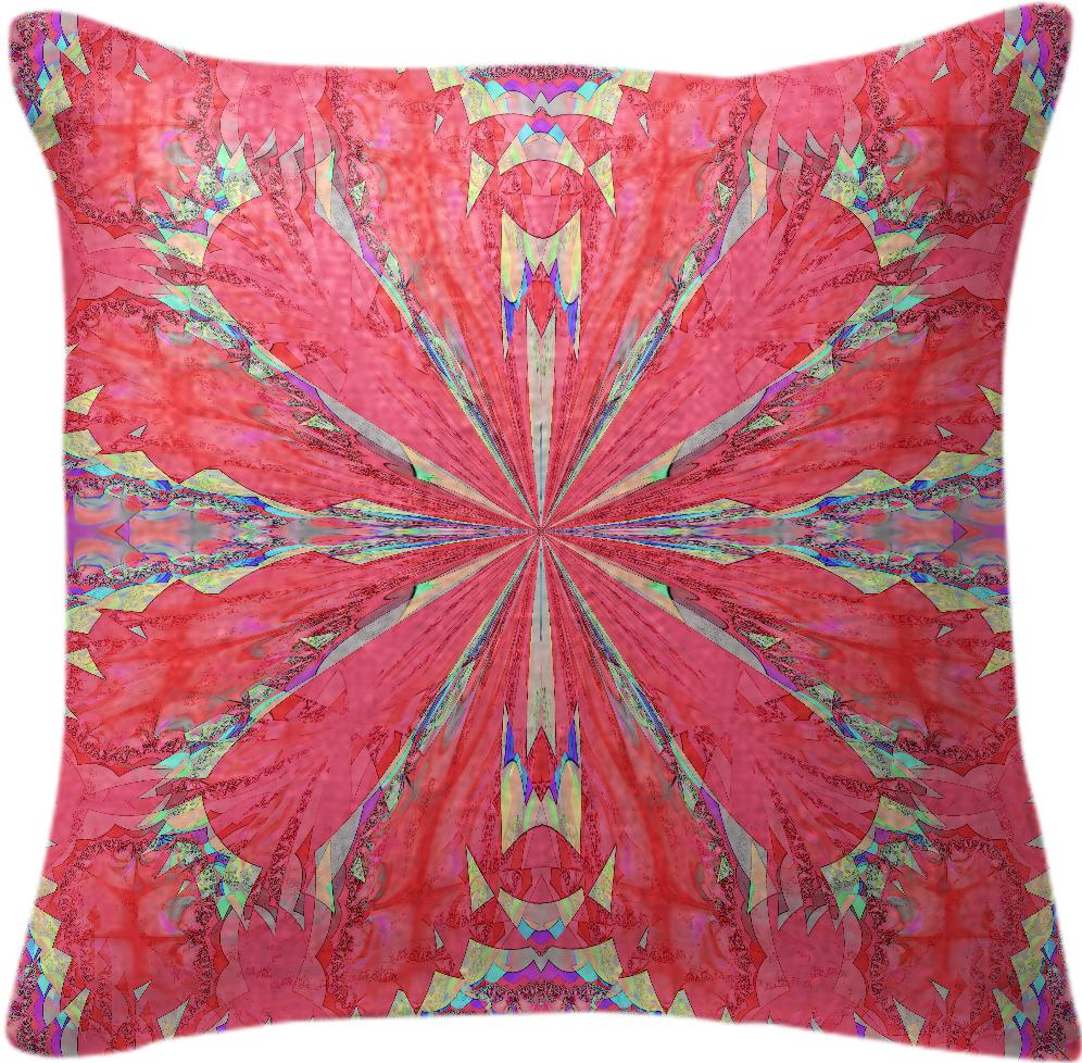 Watermelon Red Fractal Pillow