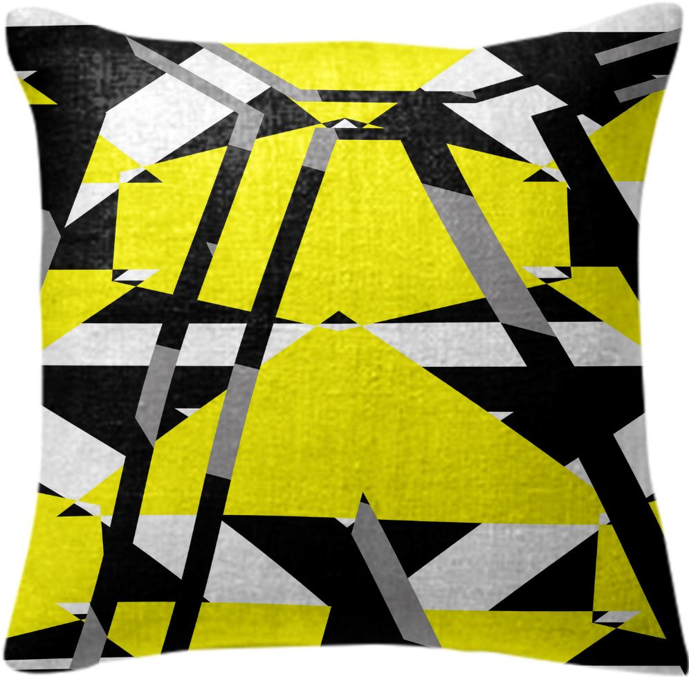 Yellow black and white pieces abstract design