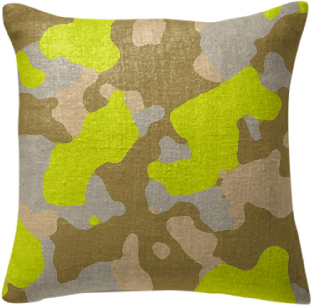 YELLOW CAMOUFLAGE PILLOW