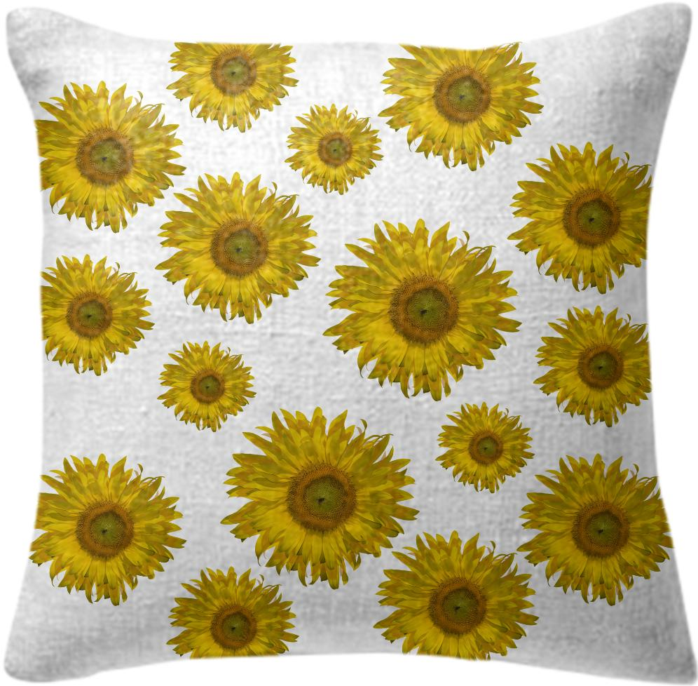 Yellow Scattered Sunflowers Pillow