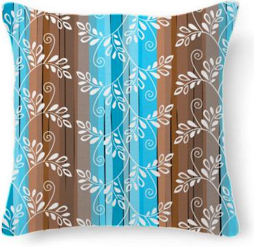 Brown and blue floral pattern with stripes