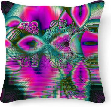 Crystal Flower Garden Abstract Teal Violet