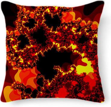 Fire Fractal Feather Throw Pillow