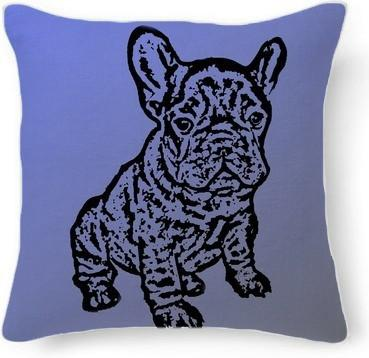 French Bulldog blue and gray pillo