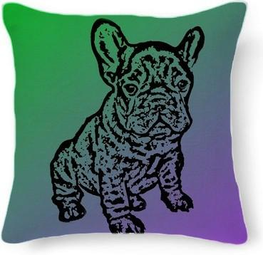 French Bulldog green and purple pillow